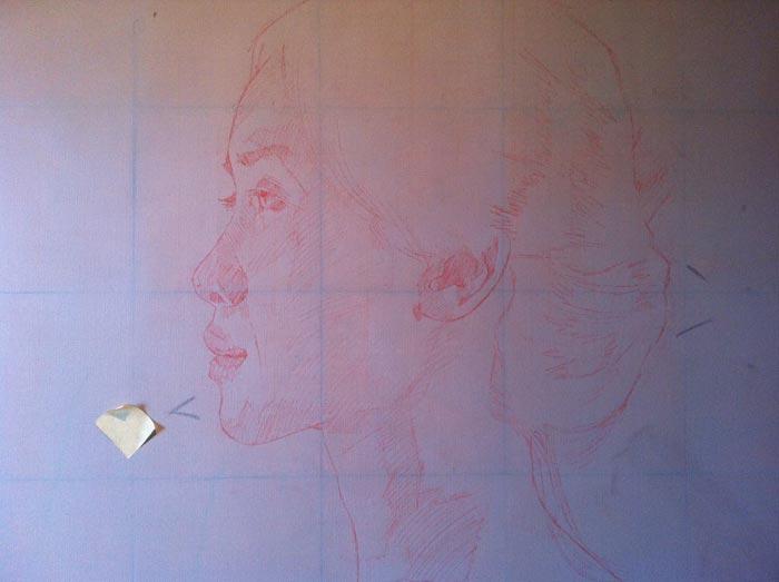 Hasil jiplakan dengan menggunakan pastel kapur.